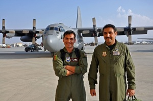 Afghan Air Force pilots 1st Lt. Khial Shinwari (left) and Col. Almal Pacha (right) are the first two C-130 pilots in the Afghan air force. (U.S. Air Force photo/Capt. Anastasia Wasem)