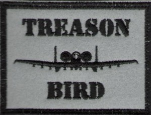 "The ""Treason Bird"" patch sold out in two days. (Photo courtesy of Doctrine Man.)"